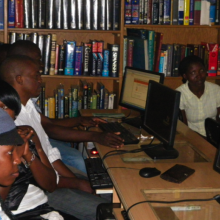 Young people learn computer and internet skills in National Library of Uganda in Kampala.