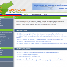 screen shot of the home page of the OPENACCESS.SI website