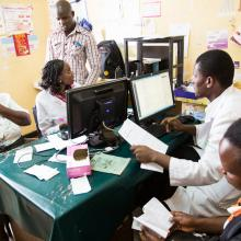 Health workers and researchers at Embu General Provincial Hospital in eastern Kenya work online using open access research.