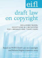 Cover of EIFL draft law on copyright, EIFL logo, light blue text