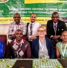 The IYALI team at the AfLIA conference: back, from left, Koi Kazungu, Kenya; Mustafa Tuhami, Egypt; Momoh Mansaray, Sierra Leone. Front, from left, Harouna Ahmadou Saliou Yerima, Cameroon; Joseck Olala, Kenya; Ramune Petuchovaite, EIFL, Joan Njogu, Kenya.
