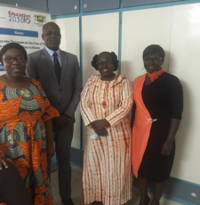 Left to right, Dr Soro Ngolo Aboudou's assistant; Dr Soro Ngolo Aboudou, Secretary General of the Ivorian National Commission for UNESCO; Cécile Coulibaly, EIFL Country Coordinator; Ouffouet Ahou Marie-Claire Allou, EIFL Copyright Coordinator.