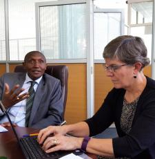 EIFL-PLIP Capacity Building Manager (and blog author) Susan Schneur interviews KNLS Director Richard Atuti about staff development needs during the meeting of the cross-departmental working group of KNLS staff in May 2017.