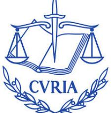 ECJ logo with an open book, a scales and the word 'Curia'.