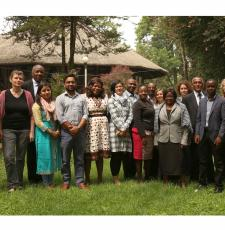 A group of trainees and trainers at the EIFL Open Science train-the-trainers course in Addis Ababa. They are standing outside the training venue.