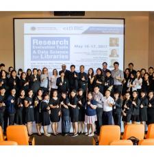 Group photo of participants at a workshop on research evaluation and data science for libraries hosted by EIFL and EIFL's partner library consortium, Electronic Information for Libraries in Thailand, at Mahidol University in Salaya, Thailand.