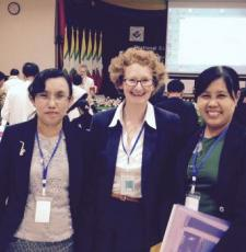 EIFL-IP Manager Teresa Hackett, centre, with Daw Myat Sann Nyein, EIFL coordinator in Yangon, left, and Dr Kay Thi Htwe, Director, National Library Nay Pyi Taw, Myanmar.
