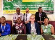 The IYALI team at the AfLIA conference: back, from left, Koi Kazungu, Kenya; Mustafa Tuhami, Egypt; Momoh Mansaray, Sierra Leone. Front, from left, Harouna Ahmadou Saliou Yerima, Cameroon; Joseck Olala, Kenya; Ramune Petuchovaite, EIFL, Joan Njogu, Kenya.