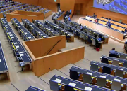 WIPO Assembly hall in hybrid mode - social distancing, and just a few delegates, due to COVID-19.