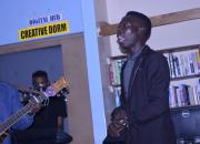 Singer and guitarist in Choma Provincial Library's 'Creative Dorm' space.