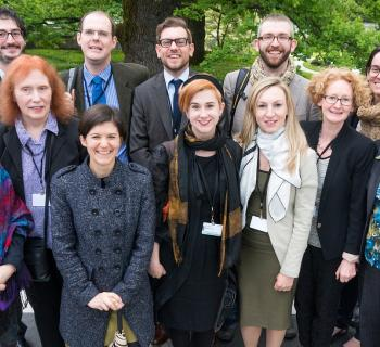 Representatives from international library and archive organizations stand together at WIPO.