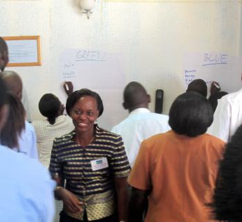 A Ugandan librarian at work during communication and advocacy training organised by EIFL-PLIP in Kampala in August 2012.