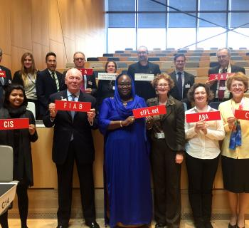 Group photo of 14 delegates from libraries, archives and museums in the WIPO conference hall.