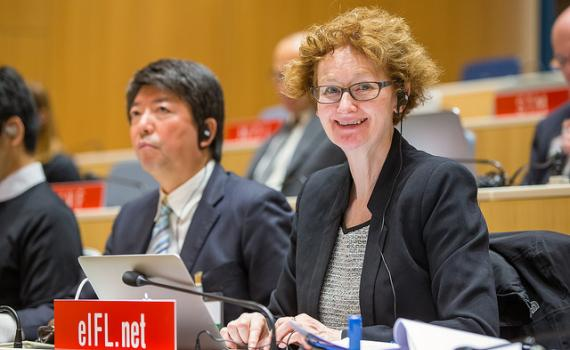 Photo of Teresa Hackett, EIFL Copyright and Libraries Programme Manager at SCCR/31.