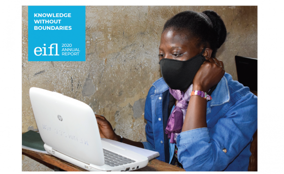 Cover image of the EIFL 2020 Annual Report showing a young woman, wearing a coronavirus protective mask, using a computer in a Ugandan village library.