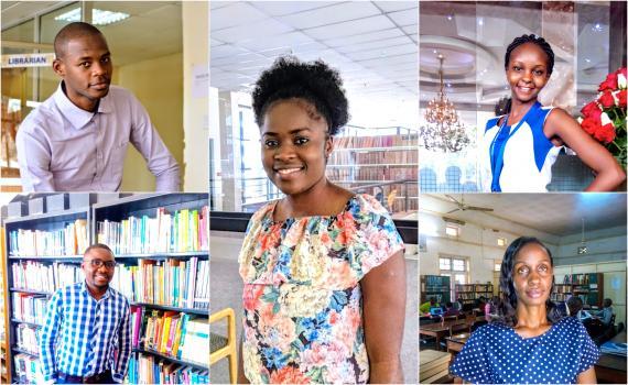 The five young library innovators, from top left - Yusuf Ganyana, Kenya; centre panel,  Letta Shivute, Namibia; Sarah Nyaboke Ogembo, Kenya. Bottom row, from left, Dominic Bwalya Chitondo, Zambia, and  Daisy Ashabahebwa, Uganda.