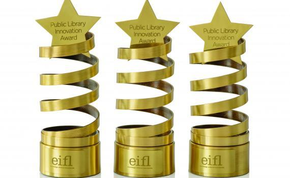 EIFL Public Library Innovation Award trophy - brass spiral with a star on top.