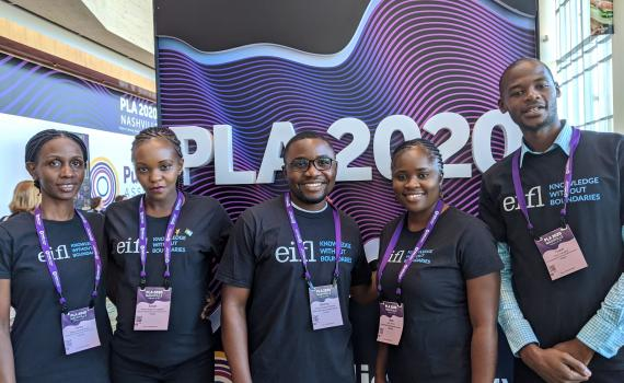 The five young library innovators, from left - Daisy Ashabahebwa (Uganda), Sarah Nyaboke Ogembo (Kenya), Dominic Bwalya Chitondo (Zambia), Letta Shivute (Namibia) and Yusuf Ganyana (Kenya).