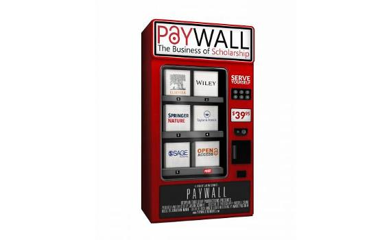 logo for the film Paywall the Movie - a red vending machine with publishers' names on the purchase buttons