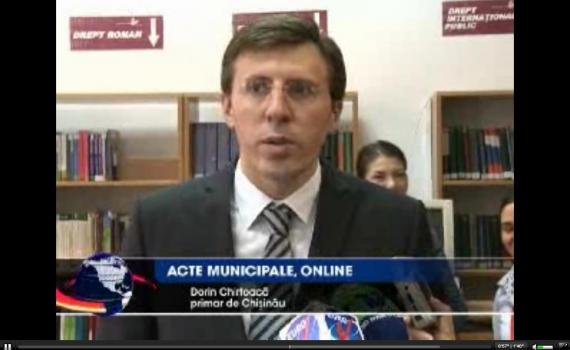 Chisinau Mayor announcing the launch of the legal database on television.