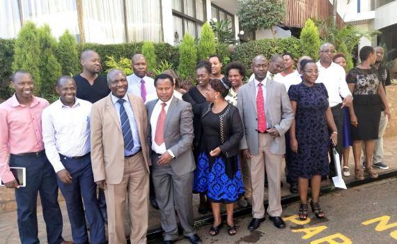 Representatives of university management, libraries and researchers after a open access policy development workshop in Nairobi, Kenya in YEAR.