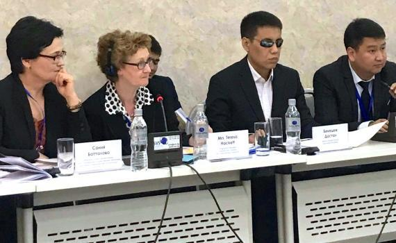 Panellists at the seminar in Kyrgyzstan where  where the first international transfer of accessible books took place.