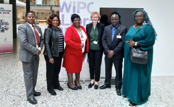 Group photo of the EIFL team at WIPO SCCR/39, from left: Joseph Kavula and Janegrace Kinyanjui from Kenya; Kathy Matsika from Zimbabwe, Teresa Hackett, from EIFL, Dick Kawooya from Uganda/USA, and Awa Diouf Cissé from Senegal.