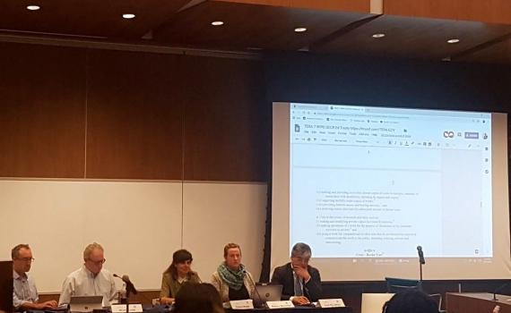 The panel presents the proposed Treaty on Copyright Exceptions and Limitations for Educational and Research Activities (TERA) at the Fifth Global Congress on IP and the Public Interest in Washington DC. Photo shared by Kylie Pappalardo.