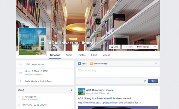 Banner of ADA University Facebook page