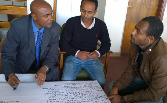 Research administrators from Addis Ababa University discuss the open access policy wording